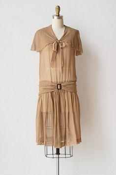 vintage 1920s sheer light brown flapper dress