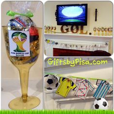 World Cup soccer party....garland and favors.....everyone can decorate their own jersey and soccer ball and take home their own gold cup!