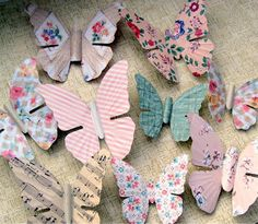 Vintage wallpaper butterfly magnets
