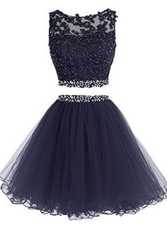 Lilibridal Two Pieces Short Beaded Prom Dress Tulle Appli...