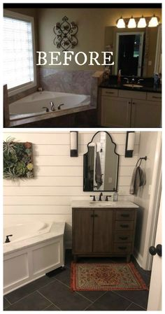 20 Bathroom Makeovers- Before and Afters. 20 Bathroom Makeovers- Before and Afters - Nesting With Grace. We have 20 bathroom makeovers- changes that you can easily do yourself. Take that awful bathroom BEFORE photo into a beautiful and obtainable AFTER! Mobile Home Renovations, Remodeling Mobile Homes, Bathroom Renovations, Home Remodeling, Bathroom Makeovers, Remodel Bathroom, Cheap Bathroom Makeover, Kitchen Remodeling, Diy Bathroom
