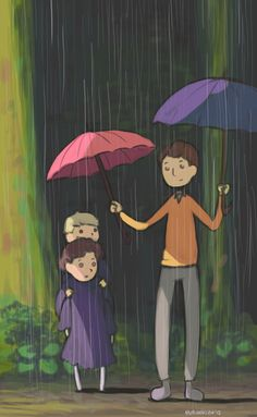 Daww! Young Jawn, Sherlock, and Mycroft with My Neighbour Totoro crossover