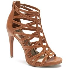 Jennifer Lopez Women's High Heel Gladiator Sandals, Size: 7.5, Brown ($60) ❤ liked on Polyvore featuring shoes, sandals, brown, red strappy sandals, roman sandals, red shoes, high heel sandals and gladiator sandals
