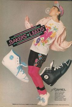 Bakers - Leeds Shoes Ad from Teen Magazine August 1987 1990s Fashion Trends, 80s And 90s Fashion, 80s Trends, 1987 Fashion, High Fashion, Vintage Outfits, Vintage Fashion, Shoes Ads, 1990s Shoes