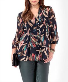 Mixed Feather Print top - $24.80