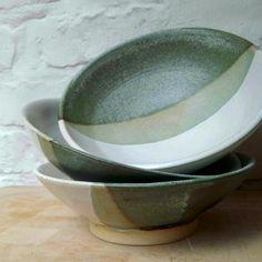 "@ceramicstudio5oak) on Instagram: ""beautiful trio of glazed #ceramicbowls 💚 made by Akhila in our Monday class"""