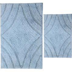 "The Twillery Co. Barnes 2 Piece 100% Cotton Diamond Spray Latex Bath Rug Set Size: 30"" H X 20"" W and 40"" H X 24"" W, Color: Light Blue"
