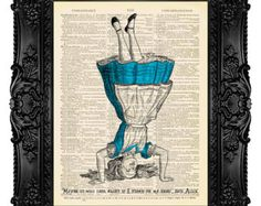 ALICE in WONDERLAND Decorations Art Print on Antique Book Pages Dictionary Page Upcycled Recycled Mad Tea Party 173