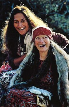 Maori grandmother and granddaughter near Reporua, New Zealand  1984