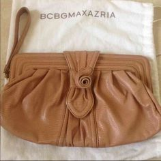 "BCBG MaxAzria Rose Clutch or Wristlet This leather clutch is in excellent condition. Used only once or twice. 12"" x 8"". No marks or stains. Clean on the outside and inside. Comes with dust bag. BCBGMaxAzria Bags Clutches & Wristlets"