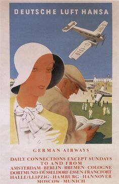 Vintage Lufthansa Airlines Travel Poster:  Germany