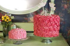 Buttercream ruffle cake and rose cake, wedding cake table on a vintage dresser     www.lovelittlecak... www.vintagestyleh... www.thebiscuitjar.co.uk  www.clairenaylorphotography.co.uk