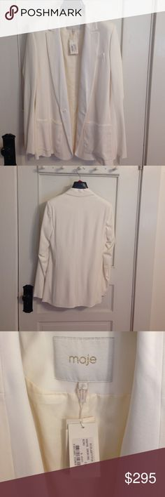 Never worn Maje ivory men's-style jacket! Chic over fitted black dress or pants/tank! 100% cotton outside; 100% viscose lining. Maje Jackets & Coats Blazers