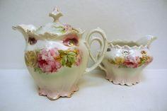 Antique Victorian Sugar Bowl & Creamer MZ Austria Shabby Chic Roses Austrian…