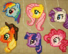My Little Pony Perler Necklaces/Magnets! MLP Mane Six Rainbow Dash - Fluttershy - Rarity - Applejack - Twilight Sparkle -  Pinkie Pie