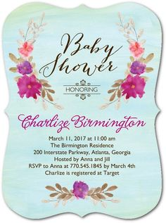 Baby Botanicals - Baby Shower Invitations in Lightest Turquoise | Coloring Cricket