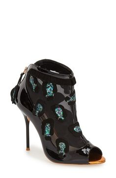 Free shipping and returns on SOPHIA WEBSTER 'Felice' Peep Toe Bootie (Women) at Nordstrom.com. Glittering leopard-spot appliqués, ruffled suede and shining patent-leather trim create mixed-media magic on a fabulous mesh bootie with a sultry peep toe and stiletto heel.