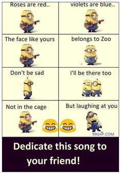 Funny Songs About … Funny Songs About Friends vs. Zoo By The Minions The post Funny Songs About … appeared first on Paris Disneyland Pictures. Friend Birthday Quotes Funny, Bff Quotes Funny, Funny Friend Memes, Funny Minion Memes, Funny Songs, Best Friends Funny, Jokes Quotes, Minions Quotes, Funny Humor