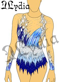 Competition Rhythmic gymnastic leotards Design Waterfall