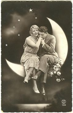 "Moon ""Say it's only a paper moon. hangin' over a cardboard sea, but it wouldn't be make-believe if you believed in me.""""Say it's only a paper moon. hangin' over a cardboard sea, but it wouldn't be make-believe if you believed in me. Images Vintage, Vintage Pictures, Vintage Photographs, Vintage Postcards, French Postcards, Vintage Ephemera, Vintage Ads, Paper Moon, Stars And Moon"