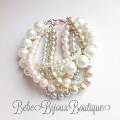 Chunky Cream Tan and Powder Rose Pearl Adult by BebeBijouxBoutique