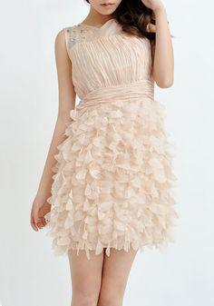 Rhinestone Pleated Applique Chiffon Dress