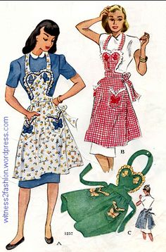 This Butterflies apron was also available in a child's version. (From 1946)