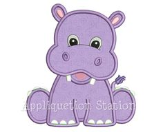 Machine Applique Embroidery Design: This little hippo is one in a series of matching baby animals. It makes a great single design check out the others for a great theme! Sizes included: (sizes rounded for easy reference) hoop - stitches hoop - Paper Embroidery, Embroidery Transfers, Applique Embroidery Designs, Learn Embroidery, Machine Embroidery Applique, Free Machine Embroidery Designs, Applique Patterns, Vintage Embroidery, Applique Quilts