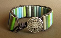 Paper Bead Leather Wrap Bracelet  Upcycled door DeepBlueNotion, $34.00
