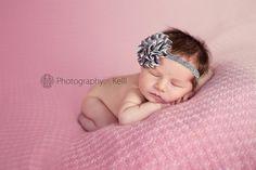 Baby Headband..Baby Girl Headband...Newborn Headband...silver satin puff on glittery silver headband. $8.95, via Etsy.