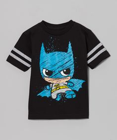 Black Batman Caricature Tee - Boys | zulily