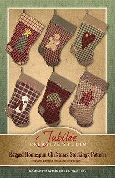 Ragged Christmas Stocking Pattern- 6 designs $12.00