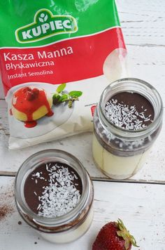 "Coconut dessert with semolina Ingredients: (for one .- Deser kokosowy z kaszy manny Składniki: ( na jeden słoiczek) – k… Coconut dessert with semolina Ingredients: (for one jar) – semolina ""Kupiec"" – 1 tbsp – coconut flakes – 2 tbsp … - Baby Food Recipes, Sweet Recipes, Vegan Recipes, Snack Recipes, Dessert Recipes, Healthy Sweets, Healthy Snacks, Helathy Food, Coconut Desserts"