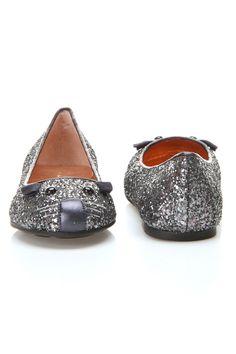 Glitter mouse ballerina flat. Too cute!