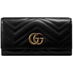 Gucci GG Marmont 2.0 Medium Quilted Flap Wallet ($750) ❤ liked on Polyvore featuring bags, wallets, black, snap closure wallet, gucci wallet, snap wallet, gucci bags and quilted wallet