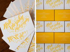 Photographers business cards. Great use of sunshine yellow.