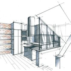 Home Decoration Sale Clearance Interior Design Classes, Interior Design Process, Interior Design Sketches, Croquis Architecture, Modern Architecture House, Interior Architecture, Drawing Interior, Interior Rendering, Perspective Drawing