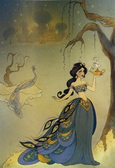 Princess Jasmine, interpreted through traditional Chinese drawing style.
