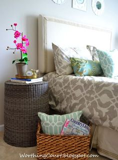 Use a basket turned upside down for a night stand or end table! :: Worthing Court Blog