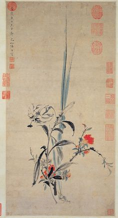 https://flic.kr/p/9eMunt | 明-陸治-榴花小景 | From the National Palace Museum in Taipei.  Chinese Flower Painting @ China Online Museum