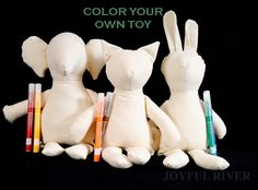 Color your own toy - Make your own softie - DIY stuffed toy