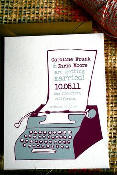 Wedding Invitations: Creative Vintage typewriter save the date.