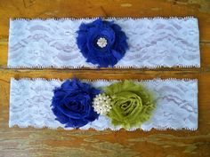 Royal Blue and Olive Green Garter Set by BloomsandBlessings