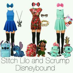 Lilo and stitch and scrump group disneybound - Outfits - Disney Bound Outfits Casual, Cute Disney Outfits, Disney Themed Outfits, Disney Dresses, Cute Outfits, Skater Outfits, Disney Character Outfits, Character Inspired Outfits, Disneybound Outfits