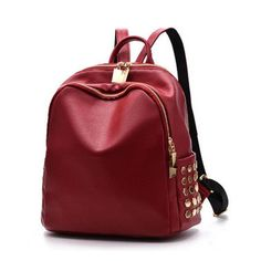 1f3bed5c0b09 Black Leather Rivet Backpack Mochila Feminina Luxury Designer Girl Bag Sac  A Dos Backpack For Teen Kanken Korean Backpacks