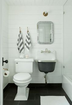 Home Decor Ideas : Illustration Description The vintage sink paired with a modern toilet and color scheme keeps it feeling updated Find More Accessories & Bathroom Design Inspiration, Bad Inspiration, Wedding Inspiration, Design Ideas, Diy Design, Tiny House Bathroom, Basement Bathroom, Bathroom Ideas, Tiny Bathrooms