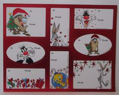 VINTAGE LOONEY TUNES CHRISTMAS GIFT TAGS STICKERS 1 Sheet 8 Tags c   eBay : 5.90 ttc USA