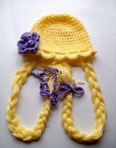 Rapunzel Hair Hat  Wig Womens Children Girls All by SarahandJolie, $32.00