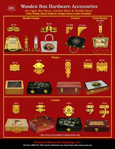 Metal Hinge, Latch, Clamp Hardware Accessories For Wood Jewelry Box, Cigar Box Purse, Wooden Boxes