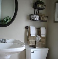Storage Inspiration for Small Bathroom Design and Decorating Ideas - Home Design and Home Interior Bad Inspiration, Bathroom Inspiration, Bathroom Renos, Master Bathroom, Bathroom Mirrors, Bathroom Interior, Downstairs Bathroom, Design Bathroom, Bathroom Towels